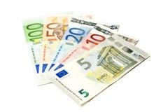 Fatture di moneta europea smazzate fuori Fotografia Stock Libera da Diritti