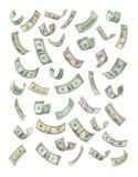 Fatture di soldi americane che galleggiano giù Immagine Stock Libera da Diritti
