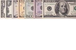 Fatture di soldi americane del dollaro degli Stati Uniti isolate su fondo bianco Immagini Stock