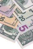 Fatture di soldi americane del dollaro degli Stati Uniti isolate su fondo bianco Fotografie Stock Libere da Diritti