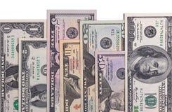 Fatture di soldi americane del dollaro degli Stati Uniti isolate su fondo bianco Immagini Stock Libere da Diritti