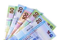 Fatture di valuta del dollaro di Hong Kong isolate su bianco Fotografia Stock