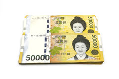 Fatture di valuta vinte coreane Fotografia Stock