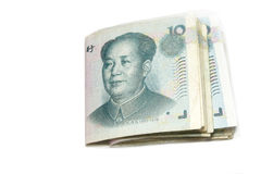 10 fatture di yuan, fondi della Cina Fotografia Stock