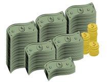 Fatture e monete del dollaro Fotografie Stock