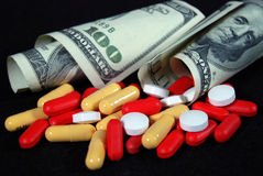 Fatture e pillole Fotografia Stock