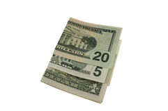 Fatture piegate del dollaro Fotografie Stock