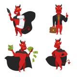 Fatture rosse del contratto e di soldi di anima del diavolo della pelle illustrazione vettoriale