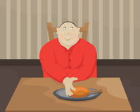Fatty. Funny fatty dined at the table Royalty Free Stock Image