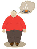 Fatty. The fat man who dreams of a delicious meal Stock Images