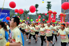 Fatty also took part in the marathon. Half international marathon in fushui county in yunnan province in China, time: on September 25, 2013 Stock Photography