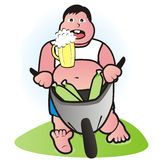 Fatty and beer Stock Photography