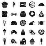 Fatty food icons set, simple style. Fatty food icons set. Simple set of 25 fatty food vector icons for web isolated on white background Stock Photography