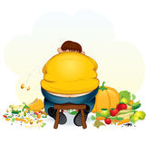 Fatty glutton. Fatty vegan man eating fruits and vegetable - vector illustration Royalty Free Stock Photo