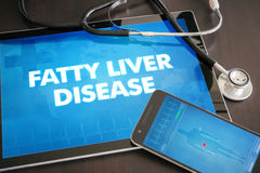 Fatty liver disease (liver disease) diagnosis medical concept on. Tablet screen with stethoscope royalty free stock photos