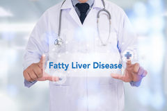 Fatty Liver Disease. Medicine doctor hand working stock photo