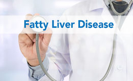 Fatty Liver Disease. Medicine doctor hand working on virtual screen royalty free stock photos