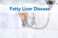 Fatty Liver Disease. Medicine doctor hand working on virtual screen royalty free stock image