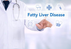 Fatty Liver Disease. Medicine doctor working with computer interface as medical royalty free stock photography