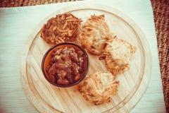 Fatty potato pancakes. Traditional german potato pancakes: delicious lunch Stock Photo