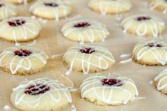 Fatura de cookies de Thumbprint da framboesa Imagens de Stock Royalty Free