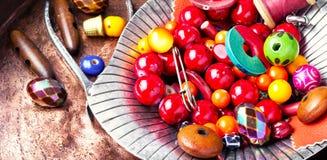 Fatura do bijouterie de grânulos coloridos fotos de stock