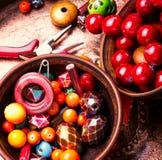 Fatura do bijouterie de grânulos coloridos imagem de stock
