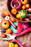 Fatura do bijouterie de grânulos coloridos imagens de stock