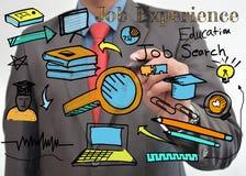 Fatura do desenho do gráfico de Job Search Fotos de Stock