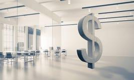 A fatura do dinheiro e o conceito da riqueza apresentaram pelo símbolo de pedra do dólar Fotografia de Stock Royalty Free