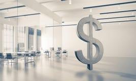 A fatura do dinheiro e o conceito da riqueza apresentaram pelo símbolo de pedra do dólar Fotos de Stock Royalty Free