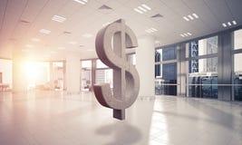 A fatura do dinheiro e o conceito da riqueza apresentaram pelo símbolo de pedra do dólar Imagem de Stock Royalty Free