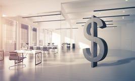 A fatura do dinheiro e o conceito da riqueza apresentaram pelo símbolo de pedra do dólar Imagens de Stock Royalty Free