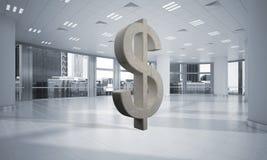 A fatura do dinheiro e o conceito da riqueza apresentaram pelo símbolo de pedra do dólar na sala do escritório Fotos de Stock Royalty Free