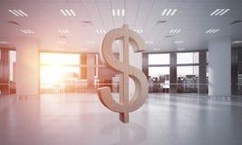A fatura do dinheiro e o conceito da riqueza apresentaram pelo símbolo de pedra do dólar na sala do escritório Imagem de Stock