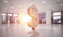 A fatura do dinheiro e o conceito da riqueza apresentaram pelo símbolo de pedra do dólar na sala do escritório Foto de Stock