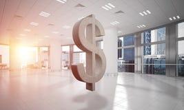 A fatura do dinheiro e o conceito da riqueza apresentaram pelo símbolo de pedra do dólar na sala do escritório Imagens de Stock Royalty Free