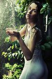 Faublous brunette in forest Stock Photo