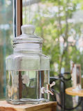 The faucet with the clear flask. Close up the faucet with the clear flask Stock Images