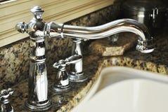Faucet de prata da cozinha Imagem de Stock Royalty Free