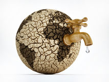 Faucet on deserted earth with cracked soil. 3D illustration.  Royalty Free Stock Photo