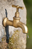 A faucet dripping. This image shows an old brass faucet, dripping Royalty Free Stock Photo