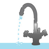 Faucet and droplets Royalty Free Stock Photos
