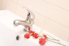 Faucet and flowers Stock Images