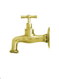 Faucet with grain. Gold-plated brass faucet on a white background Royalty Free Stock Photos