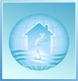 Faucet in house. Faucet with a clean drop of water against the background of the planet Royalty Free Stock Photography