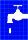 Faucet icon. On blue background Stock Photos