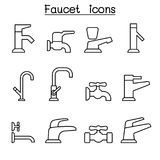 Faucet icon set in thin line style. Vector illustration graphic design Royalty Free Stock Photography