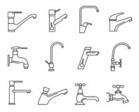 Faucet icon set, water tap for sink vector illustration