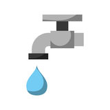 Faucet Icon. Water faucet with drop icon over white background  vector illustration Royalty Free Stock Image